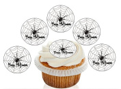 12 Large Pre Cut Happy Halloween Spider Web Edible Premium Disc Wafer Cupcake Decorations Toppers