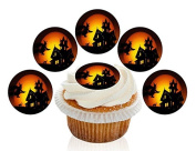 12 Large Pre Cut Edible Witch and Haunted House Halloween Premium Disc Wafer Cupcake Decorations Toppers