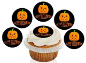 12 Large Pre Cut Happy Halloween Pumpkin Edible Premium Disc Wafer Cupcake Decorations Toppers