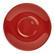 Royal Genware Saucer Red 16cm - Set of 6 - Red Porcelain Saucer for Chic Barista Coffee Service