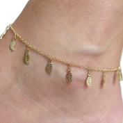 Chnli Women Sexy Simple Gold Anklet Ankle Bracelet Leaf Shape Gold Alloy Mental Foot Chain Adjustable Jewellery
