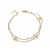 Glamorousky M-Peace Fashion 18K Gold Plated Stainless Steel Daisy Anklet For Women