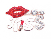 IPINK Women Gold Sparkly Red Crystal Lips Kiss Brooch
