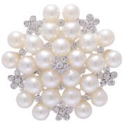 IPINK Women Noble All-match Rhinestone Pearl Prom Brooch Pin Jewellery