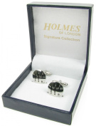Holmes of London Novelty Gear Stick Cufflinks Mens Silver Shirt Wedding With Free Faux Leather Gift Box