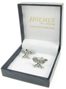 Holmes of London Novelty Tennis Racket Wimbledon Cufflinks Mens Silver Shirt Wedding With Free Faux Leather Gift Box