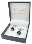 Holmes of London Novelty Black Lucky Eight Ball Snooker and Pool Cufflinks Mens Silver Shirt Wedding With Free Faux Leather Gift Box