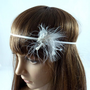 Rougecaramel - Hair Accessories - Hair Jewel Headband - Hair Feather for Weddings or Ceremonies - White
