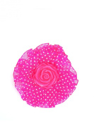 New Lace Rose Flower Dot Scrunchie Hair band Elastic Hair Tie Ponytail Holder - Hot Pink