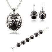 Senyun2 Punk Silver Owl Turquoise Necklace Earrings Bracelet There Jewellery Sets