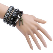 Scorpios Jewellery Cool Punk Rock Rivet Multi layer Spiked with Chain Suit Cross Pendant Leather Wristband Bracelet Unisex Bangle