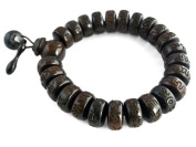 Agathe Creation Buddhist Rosary Wood Beads Bracelet Ebony sculpts-completed by the two objects (MUYU) Used for Prayers beads Diameter 15 mm Buddha Hand Made