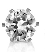 Mens Unisex Clear 8mm CZ Cubic Zirconia Stone Magnet Magnetic Round Non Pierced Earrings Jewellery single one only