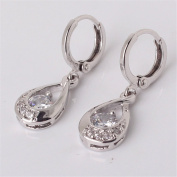 GULICX Leverback Dangle Earrings Clear Round Centre Cubic Zirconia 18k White Gold Plated