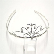 T5469 Shiny Silver Crystal Tiara Brand New