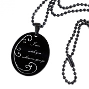 International Connexion Engraving Black with Stainless Steel Pendant