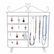 Songmics Jewellery Holder Jewellery Stand Metal Earring Necklace Bracelet Holder White JDS002W