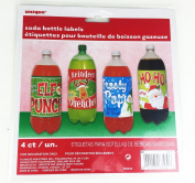 Christmas Pop Soda Bottle Labels 4 Pack Party Decoration Accessories Stickers