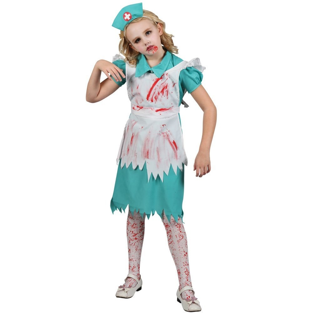 xl) girls zombie nurse halloween costume for fancy dress childrens