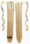 Beauty Wig World 22inch 55cm 90g Long Straight clip in on wrap around ponytail hair extension - #18 Blonde