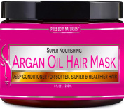 Argan Oil Hair Mask, 240ml Hair Treatment Therapy, Deep Conditioner for Damaged & Dry Hair, Heals & Restructures Hair Shaft & Growth, Detoxifies Scalp & Nourishes, Removes Products Residue Buildup