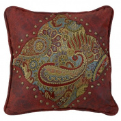HiEnd Accents San Angelo Leather Corner Pillow, Paisley