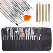 Samyo 20pcs Nail Art Design Brushes Nail Draw Pen Dotting Tool with a Black, Roll Out Pouch with 2 Magnetic Closures Elixir Beauty Nail Art Tool Set