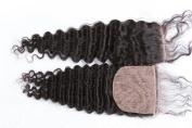Freyja Hair Brazilian Virgin Hair Full Silk Base Closure 4x 4 Human Hair Closure With Baby Hair,Brazilian Deep Wave Top Silk Base Lace Closures Part 20cm - 50cm Naturl Black Bleached Knots