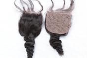 Freyja Hair Brazilian Virgin Hair Full Silk Base Closure 4x 4 Human Hair Closure With Baby Hair,Brazilian Loose Wave Top Silk Base Lace Closures Part 20cm - 50cm Naturl Black Bleached Knots