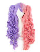 Lolita Long Curly Multi-colour Clip on Ponytails Anime Costume Cosplay Wig