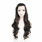 Lace Wig Long 70cm Wave Heat Resistant Synthetic Lace Front Wig Black Mixed Auburn