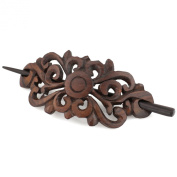 Evolatree - Hand Carved Sono Wood - Royal Butterfly Filigree - Hair Pin Barrette - 10cm