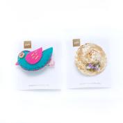 Peppercorn Kids Patchwork Bird & Mini Straw Hat Hairclip Set