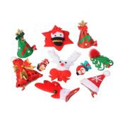 Pandahall 10 Pcs Mixed Cute Christmas Theme Alligator Hair Clips, Mixed Colour, 36~49x10mm