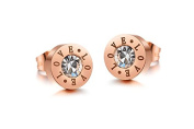 Lvxuan Stainless Steel Jewellery Rose Gold Plated Stud Earrings for Women Womens Earings Fashion Jewellery