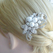 Sindary Bridal Headpiece Wedding Hair Comb Silver-tone Pearl Rhinestone Crystal Flower Hair Comb Bridal Hair Comb