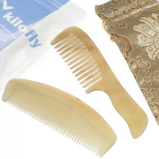 kilofly Genuine No Static Natural Sheep Horn Comb [Set of 2] + Carring Pouch