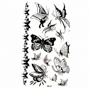 MapofBeauty Black Butterfly Waterproof Temporary Tattoo Paper Sticker 10 Sheets Per Pack HM138