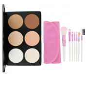 LEFV™ Professional 6 Colour Concealer Camouflage Foundation Powder Contour Palette with 7pcs Face Eye Lip Pink Brush Full Set Makeup Kit