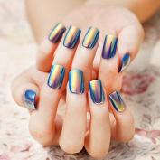 24pcs Fashion Style Symphony Shell Colour Blue Metal Shine Bent Lady Artificial False Nail Tips Z089