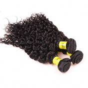 "eCowboy 10""10""10"" , JERRY CURL(Curly),Brazilian Hair Weaves, 3 Bundle Pack, Natural Black Colour, 100ml (100g) each, 100% Human Hair Guaranteed"