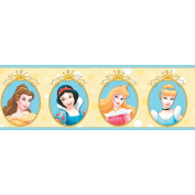 Imperial Disney Home DF059302B Princess Cameo Border, Yellow, 17cm Wide
