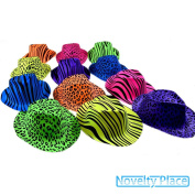 Novelty Place® [Party Stars] Neon Colour Animal Zebra and Leopard Print Plastic Gangster Fedora Party Hats for Adult Teens and Kids