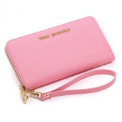 Jessica Saffiano Wallet Clutch by Greg Michaels -- Pink, Blue, Green, Brown Handbags