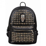 Fieans Women's Pu Leather Gothic Rhinestone Studded Rivet Skull Shoulder Bag Backpacks Black