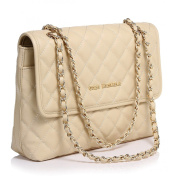 The Arianna Quilted Tote in Black / Milky White with Nappa Leather by Greg Michaels