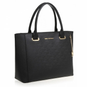 Greg Michaels Hannah in Black/Blue/Tan All Genuine Saffiano Leather Functional Tote