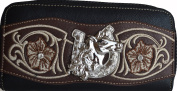 Western Cowgirl Floral Embroidery Horse Concho Rhinestone Bling Zip Around Clutch Wallet Purse