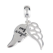 My Angel Wing Dangle 925 Sterling Silver Bead Fits Pandora Charm Bracelets
