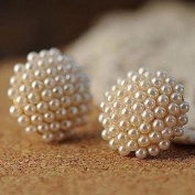 Womens White Beads Pearl Gold Plated Earrings Ear Studs Piercing Jewellery